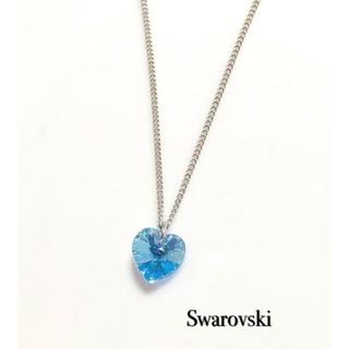 SWAROVSKI - スワロフスキーネックレス♡アクアマリンオーロラハート