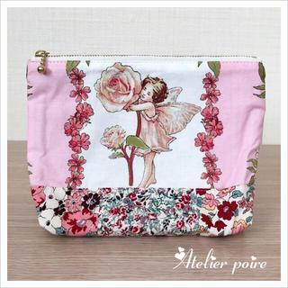 ☘︎ほぼ新品☘︎ファスナーポーチ*フラワーフェアリーズ*薔薇&桜の妖精さん(ポーチ)