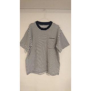 ムジルシリョウヒン(MUJI (無印良品))のMUJI Labo ボーダー ドロップショルダーTシャツ L-XLサイ(Tシャツ/カットソー(半袖/袖なし))