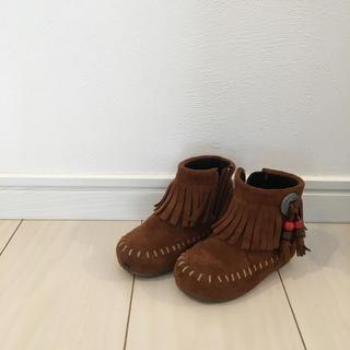 エフオーキッズ(F.O.KIDS)のアンパサンド 13.0cm フリンジブーツ モカシン ブーツ(ブーツ)