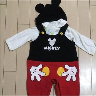 Disney - 新品タグつき 裏起毛 ミッキーロンパース3点セット
