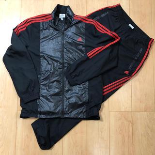 アディダス(adidas)のアディダス ウィンドブレーカー 上下 メンズL 裏メッシュ 黒に赤の3本ライン(その他)