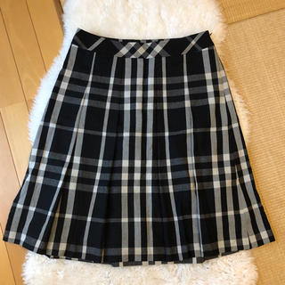 バーバリー(BURBERRY)の美品Burberryバーバリー上質ウールチェック柄スカート♫(ひざ丈スカート)