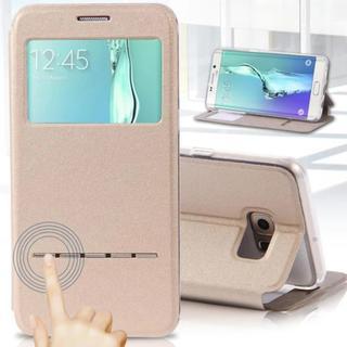 GalaxyS7edge ゴールド カラー 小窓付き 手帳型ケース
