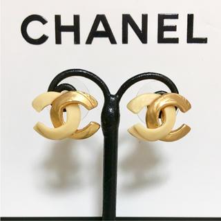 シャネル(CHANEL)の正規品 シャネル ピアス バイカラー ゴールド ココマーク 金 ベージュ ロゴ(ピアス)