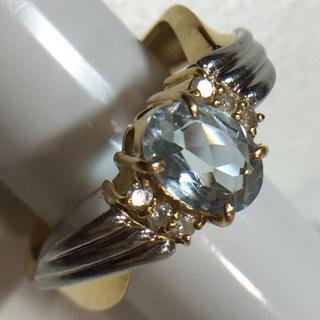 K18&Pt900・アクアマリン・リング(リング(指輪))