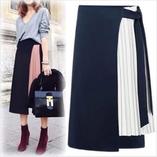 ZARA - インスタ人気 異素材プリーツラップスカートシフォン バイカラー デザインスカート