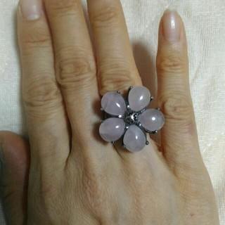 キュービーシー(q.b.c)のシルバー925フラワー大粒ローズクオーツリング(リング(指輪))