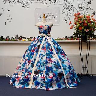 ウエディングドレス(パニエ無料) ブルー花柄ドレス 披露宴/二次会