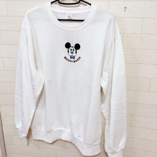 ディズニー(Disney)の新品 LL メンズ ディズニー 刺繍ミッキー  トレーナー スウェット 裏起毛 (スウェット)