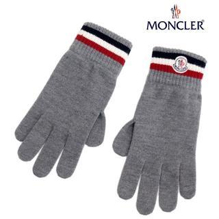モンクレール(MONCLER)の13MONCLERロゴワッペンWOOL100%手袋グレーsizeXL(手袋)