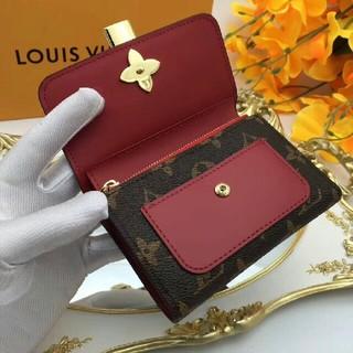 LOUIS VUITTON - ルイ・ヴィトン折り財布 レディース財布 二つ折り モノグラム 茶色/レッド