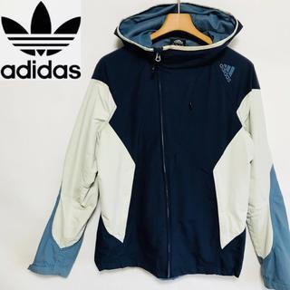 アディダス(adidas)のレア物!アディダスadidas フード付き 配色カラー ウインドブレイカー(ナイロンジャケット)