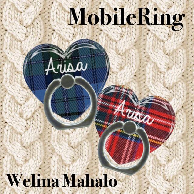 fendi iphonexs ケース 新作 | 名前入り*チェック柄ハートスマホリング*バンカーリング*スマホスタンドの通販 by welina mahalo|ラクマ