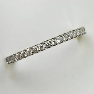 K18WG エタニティ 0.13ct ダイヤモンドリング 4号 指輪  (リング(指輪))