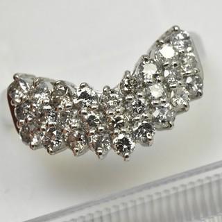 V字 合計 1.00ct プラチナ ダイヤモンドリング 14号 指輪  (リング(指輪))