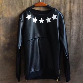 サイズが選べる サイドジップ スター プルオーバー スウェット 星 ブラック 黒