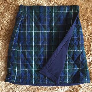 ユニクロ(UNIQLO)のUNIQLO 中綿フリース  ラップスカート リバーシブル ひざ丈(ひざ丈スカート)