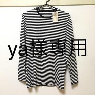ムジルシリョウヒン(MUJI (無印良品))の無印良品 クルーネック長袖シャツ M オフ白×紺(Tシャツ/カットソー(七分/長袖))