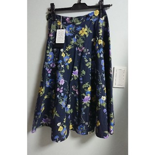 ジャスグリッティー(JUSGLITTY)のSサイズ、フラワー、ロングスカート、ジャスグリッティー、ネイビー(ひざ丈スカート)