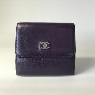 CHANEL - 状態良品 CHANEL シャネル 財布 2つ折り財布 Wホック 革 紫 パープル