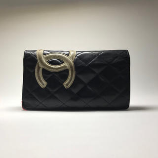 CHANEL - シャネル CHANEL 財布 長財布 カンボンライン ブラック ピンク