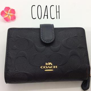 コーチ(COACH)のCOACH シグネチャー レザー 黒 二つ折り財布 B21(財布)