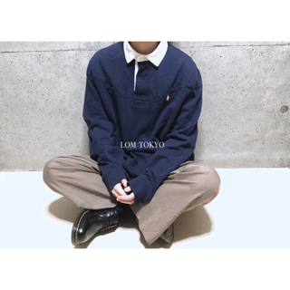 [used]'Ralph Lauren' navy rugger shirt.(ポロシャツ)