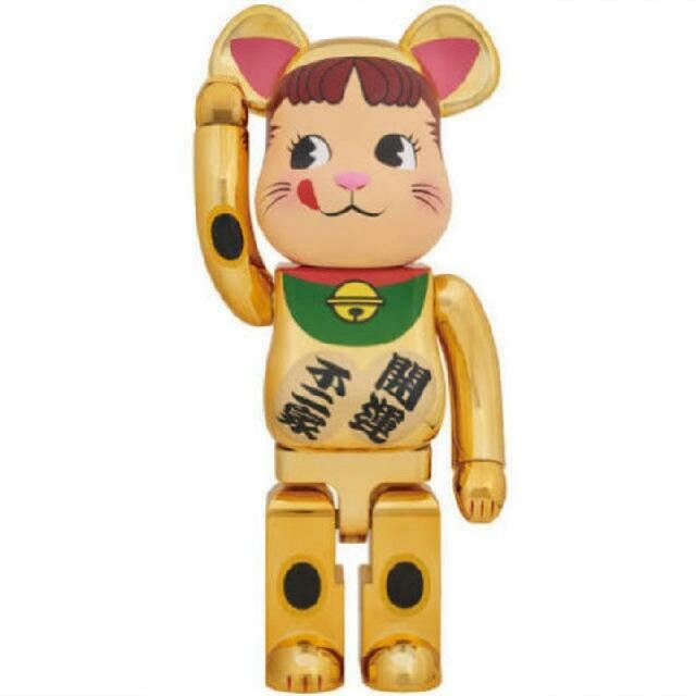 MEDICOM TOY(メディコムトイ)のBE@RBRICK 招き猫 ペコちゃん 金メッキ 1000% ベアブリック エンタメ/ホビーのおもちゃ/ぬいぐるみ(キャラクターグッズ)の商品写真