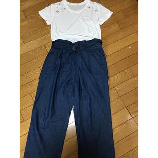 ジーユー(GU)のTシャツとデニムワイドパンツのセット(セット/コーデ)