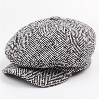 ブラック/ホワイト キャスケット メンズ ( リンボーン柄 ) ハンチング帽(キャスケット)
