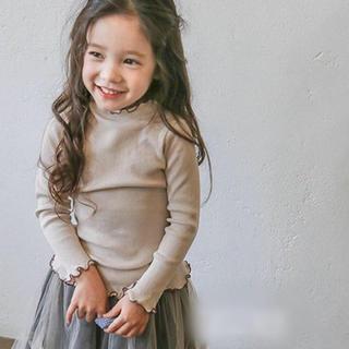 アンバー(Amber)の韓国子供服 リブカットソー 130cm ベージュ(Tシャツ/カットソー)