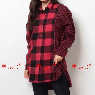 ウィゴー(WEGO)のWEGO チェックネルシャツ ロング丈 赤(シャツ/ブラウス(長袖/七分))