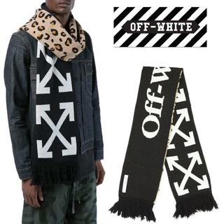 オフホワイト(OFF-WHITE)の1OFF-WHITE 18AW ブラック×レオパード マフラー(マフラー/ショール)