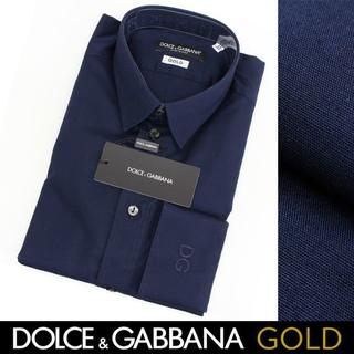 ドルチェアンドガッバーナ(DOLCE&GABBANA)のDOLCE&GABBANA ネイビー ドレスシャツ GOLD38(シャツ)