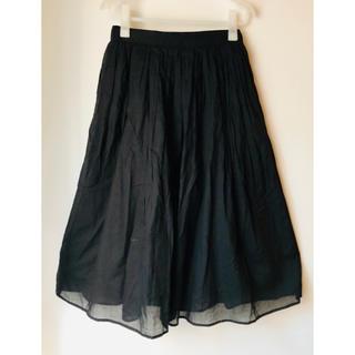 ★完売★ノーブランド ミモレ丈 スカート 黒 ウエストゴム Mサイズ(ロングスカート)