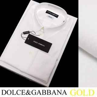 ドルチェアンドガッバーナ(DOLCE&GABBANA)のDOLCE&GABBANAホワイトドットシャツGOLDsize42C(シャツ)
