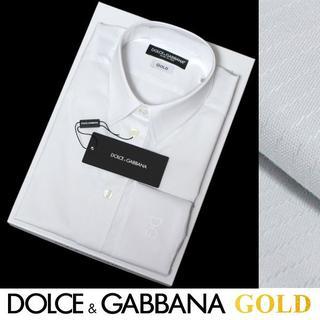 ドルチェアンドガッバーナ(DOLCE&GABBANA)のDOLCE&GABBANAホワイトストライプシャツGOLDsize42B(シャツ)