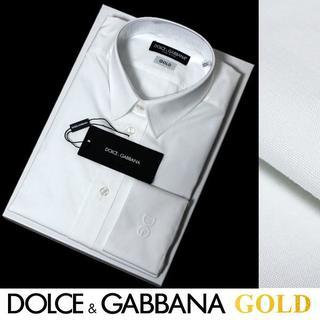 ドルチェアンドガッバーナ(DOLCE&GABBANA)のDOLCE&GABBANAホワイトストライプシャツGOLDsize42(シャツ)