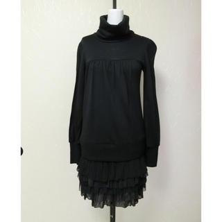 ジェットレーベル(JET LABEL)のJet Label ジェットレーベル 黒で5段フリルのスカート付き長袖ワンピース(ひざ丈ワンピース)