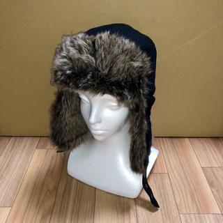 エイチアンドエム(H&M)の美品 H&M パイロットキャップ ブラック フェイクファー ハット ロシア帽 黒(ハット)