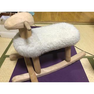 天然木製家具 エストニア製手彫り 羊ロッキングチェアー(ロッキングチェア)