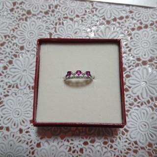 ジュエリーツツミ(JEWELRY TSUTSUMI)のk10WG ホワイトゴールド ルビー&ダイヤ リング(リング(指輪))