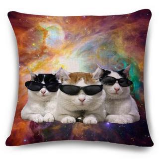 猫クッションカバー 43cm×43cm かご猫シロちゃん♪新品未使用品 送料無料(猫)
