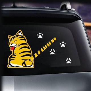猫カーステッカー☆リアウィンドウステッカー☆黄色 A♪新品未使用品 送料無料(猫)