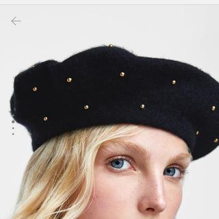 ザラ(ZARA)のZARA メタルスタッズ付きウールベレー帽(ハンチング/ベレー帽)