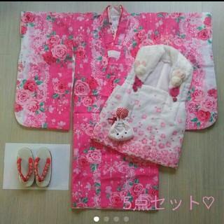 【美品】5点セット 七五三 着物 薔薇 バラ ピンク 刺繍 女の子 女児(和服/着物)