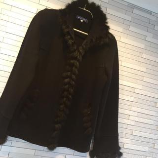 エムズグレイシー(M'S GRACY)の極美品♡エムズグレイシー♡ファーがステキなジャケットコート 黒 40(毛皮/ファーコート)