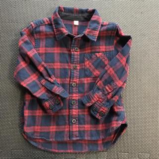ムジルシリョウヒン(MUJI (無印良品))の無印 チェックシャツ コットン100 レッド ネイビー(ブラウス)