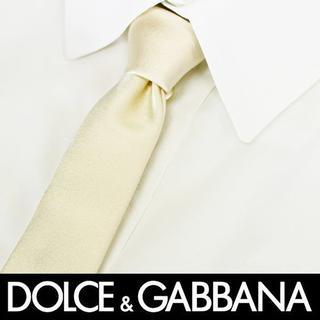 ドルチェアンドガッバーナ(DOLCE&GABBANA)の64 DOLCE&GABBANA 無地シャンパンゴールドシルク100%ネクタイ(ネクタイ)
